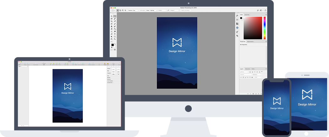 Design Mirror - preview on photoshop/sketch/Adobe XD
